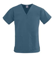 ComfortEase Two-Pocket Scrub Top, Caribbean Blue, M